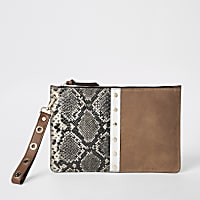 Brown snake suede leather pouch clutch bag