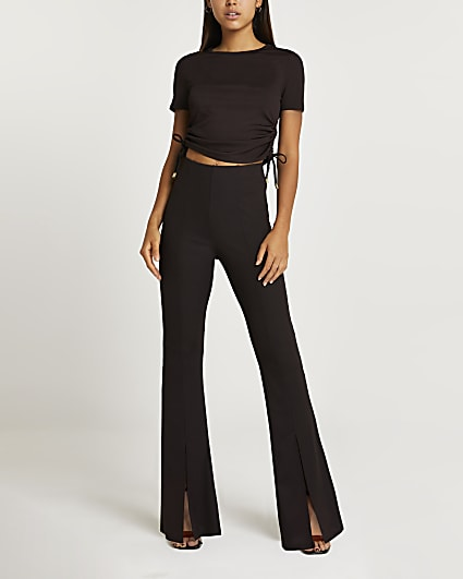 Brown split front flared trousers