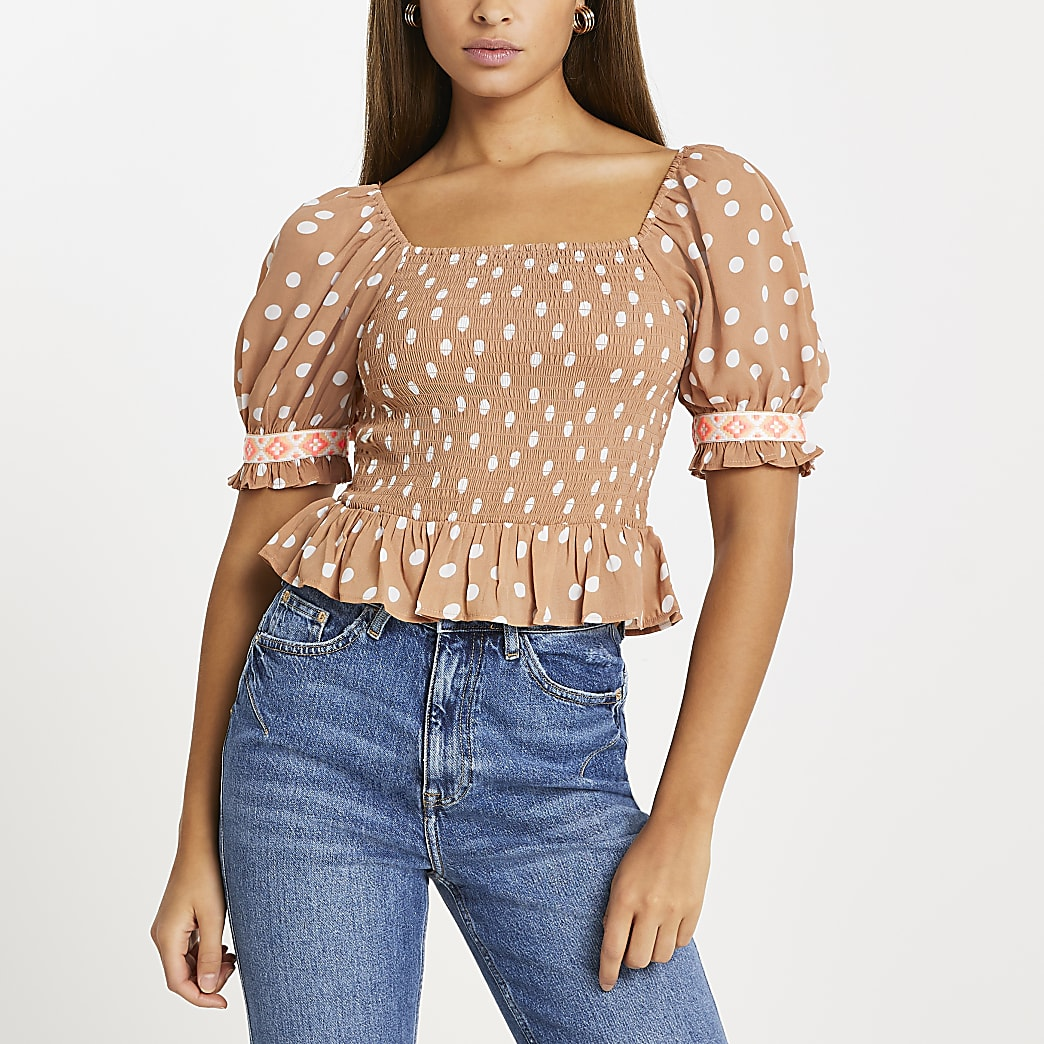 Brown spot puff sleeve crop top
