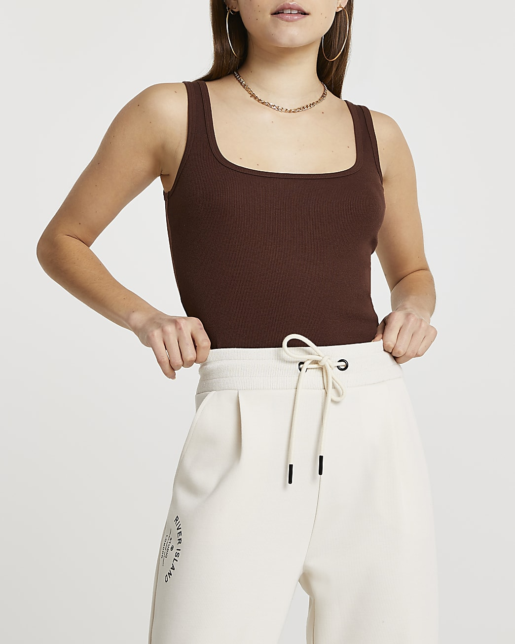 Brown square scoop neck fitted vest top