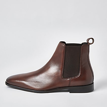 Brown square toe leather chelsea boot