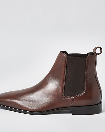 Brown square toe leather chelsea boots