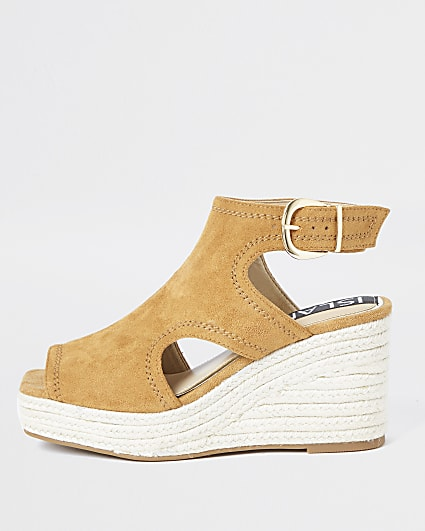 Brown square toe wedge shoes