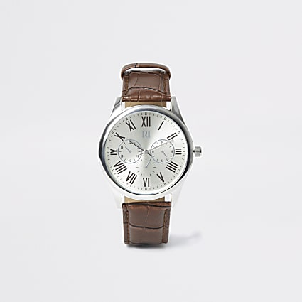 Brown strap silver tone smart watch