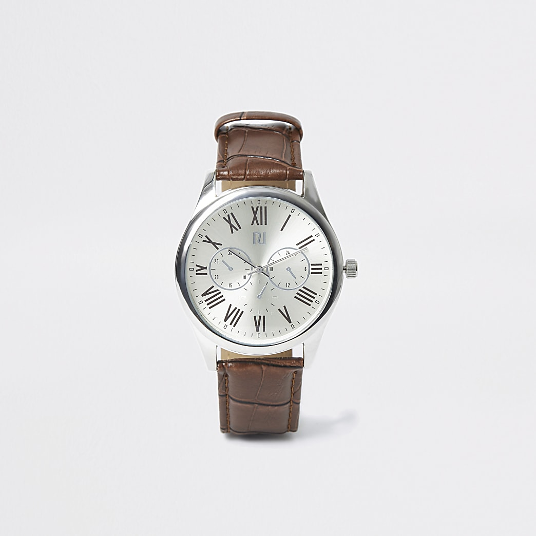 Zilverkleurig net horloge met bruin bandje