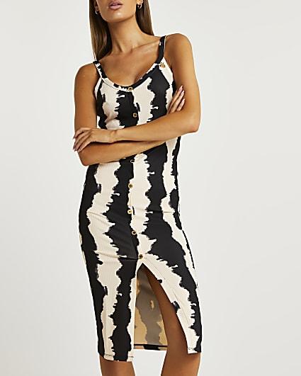 Brown stripe bodycon midi dress
