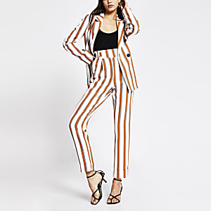 Brown stripe button waist peg trousers