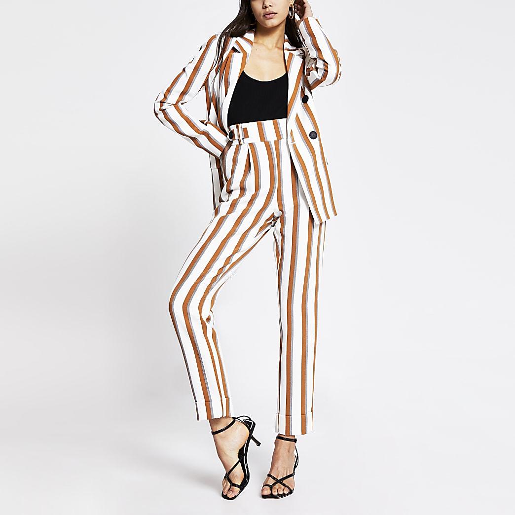 Brown stripe button waist peg trousers