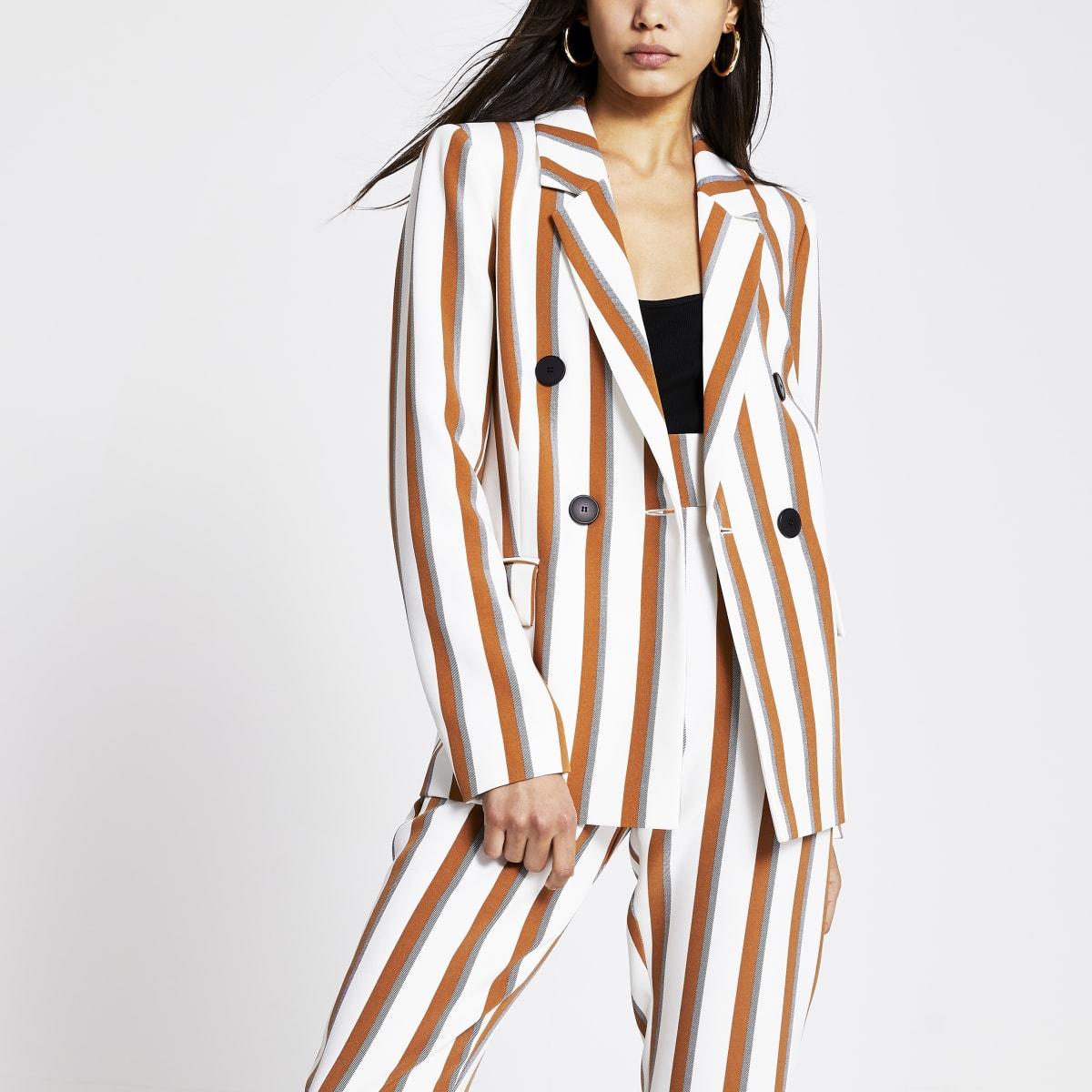 Brown stripe double breasted blazer