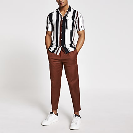 Brown stripe short sleeve slim fit shirt