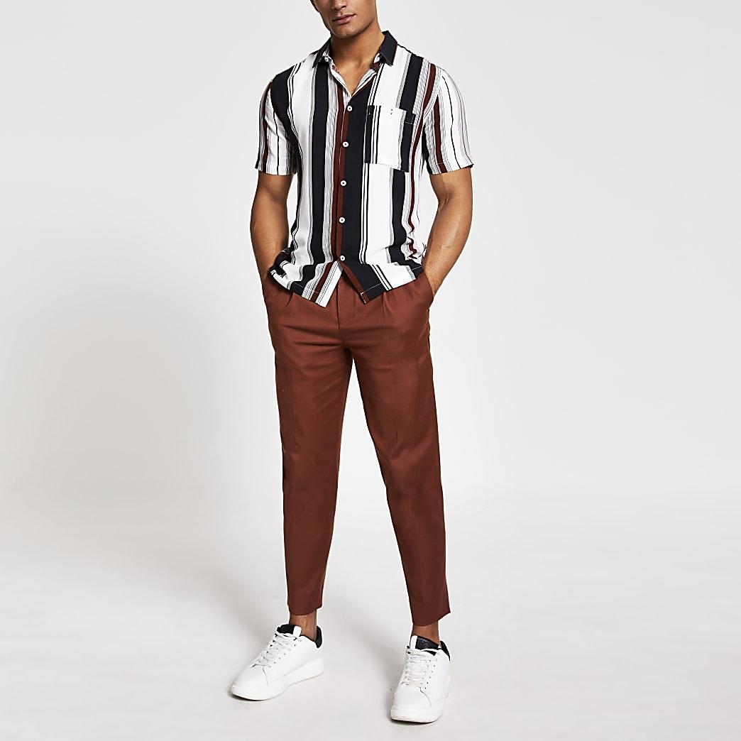 Brown stripe short sleeve slim fit shirt
