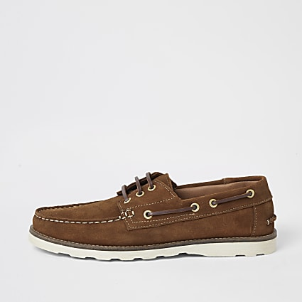 Brown suede boat shoes