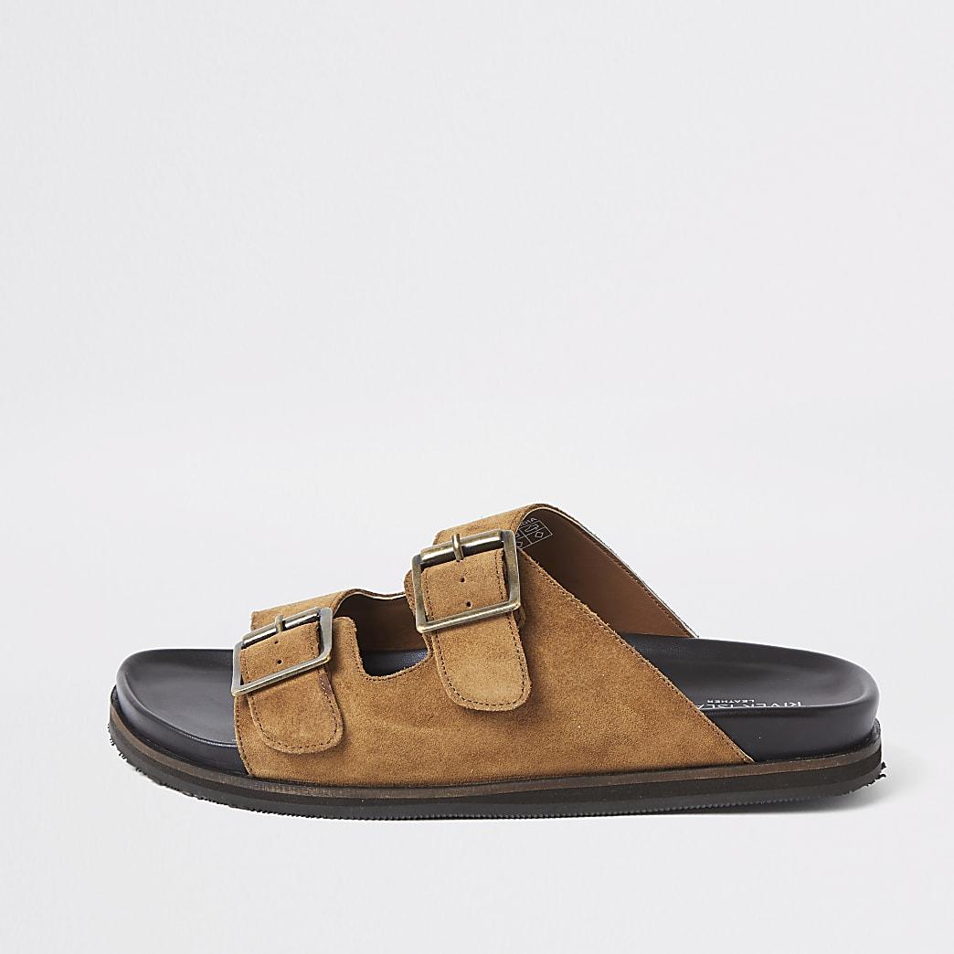 Brown suede buckle strap sandals