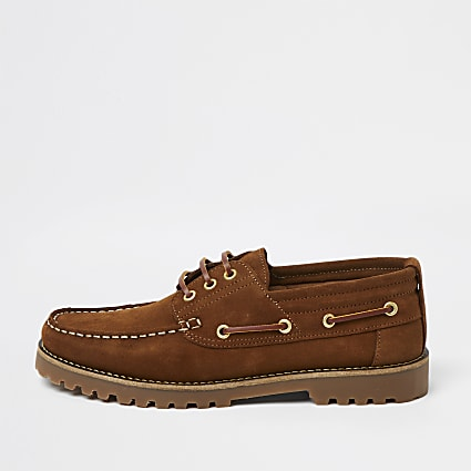 Brown suede cleated sole boat shoes