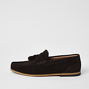 Brown suede embossed tassel loafers