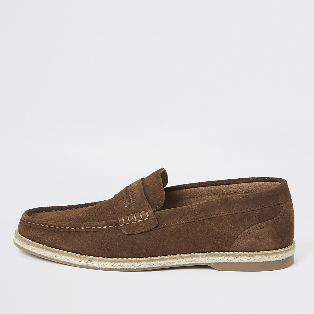 Brown suede loafers