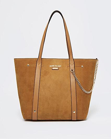 Brown suede shopper bag