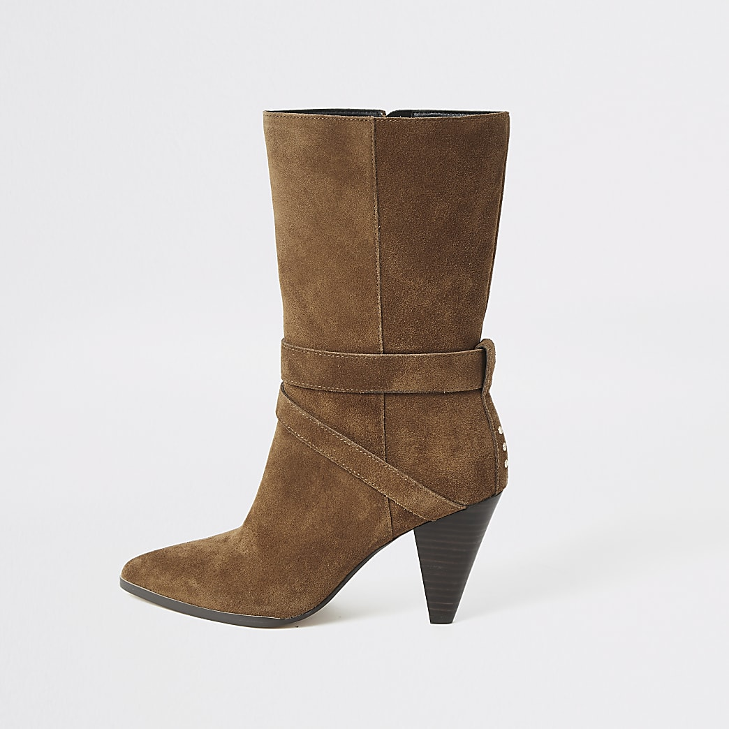 Brown suede strap heeled boots