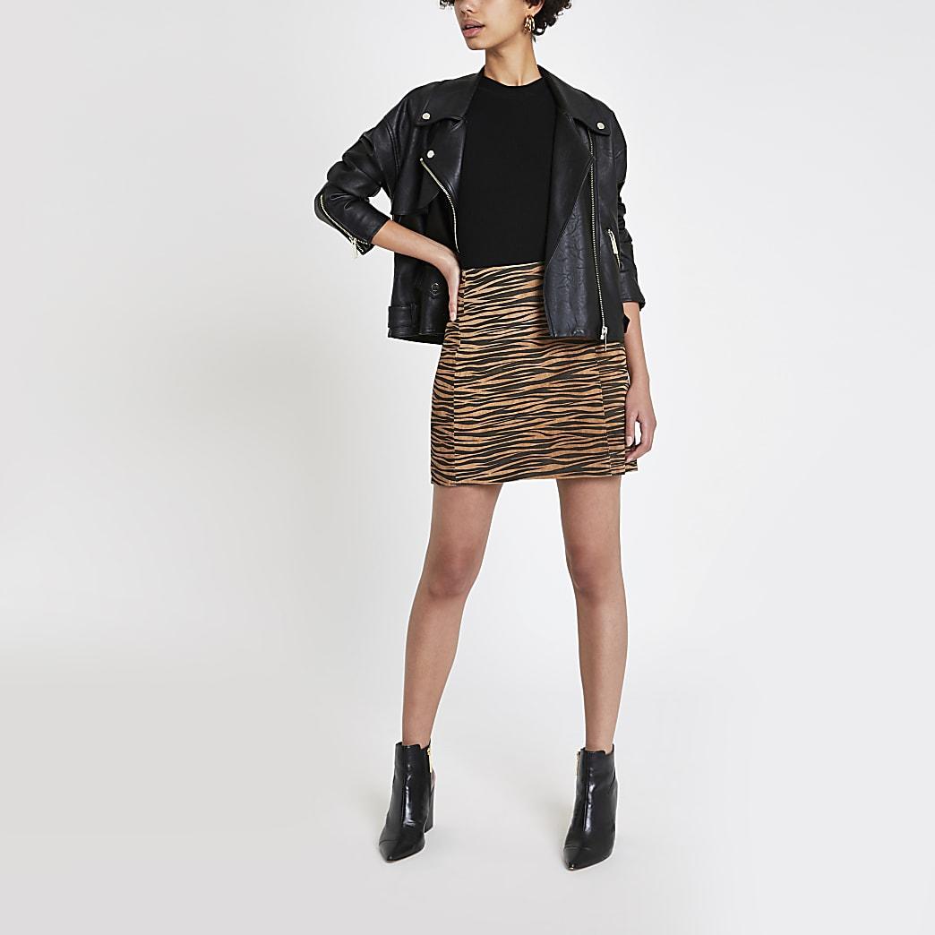 Mini jupe en daim imprimé tigre marron