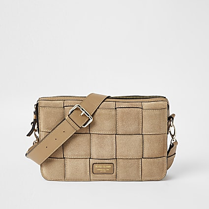 Brown suede weave cross body handbag