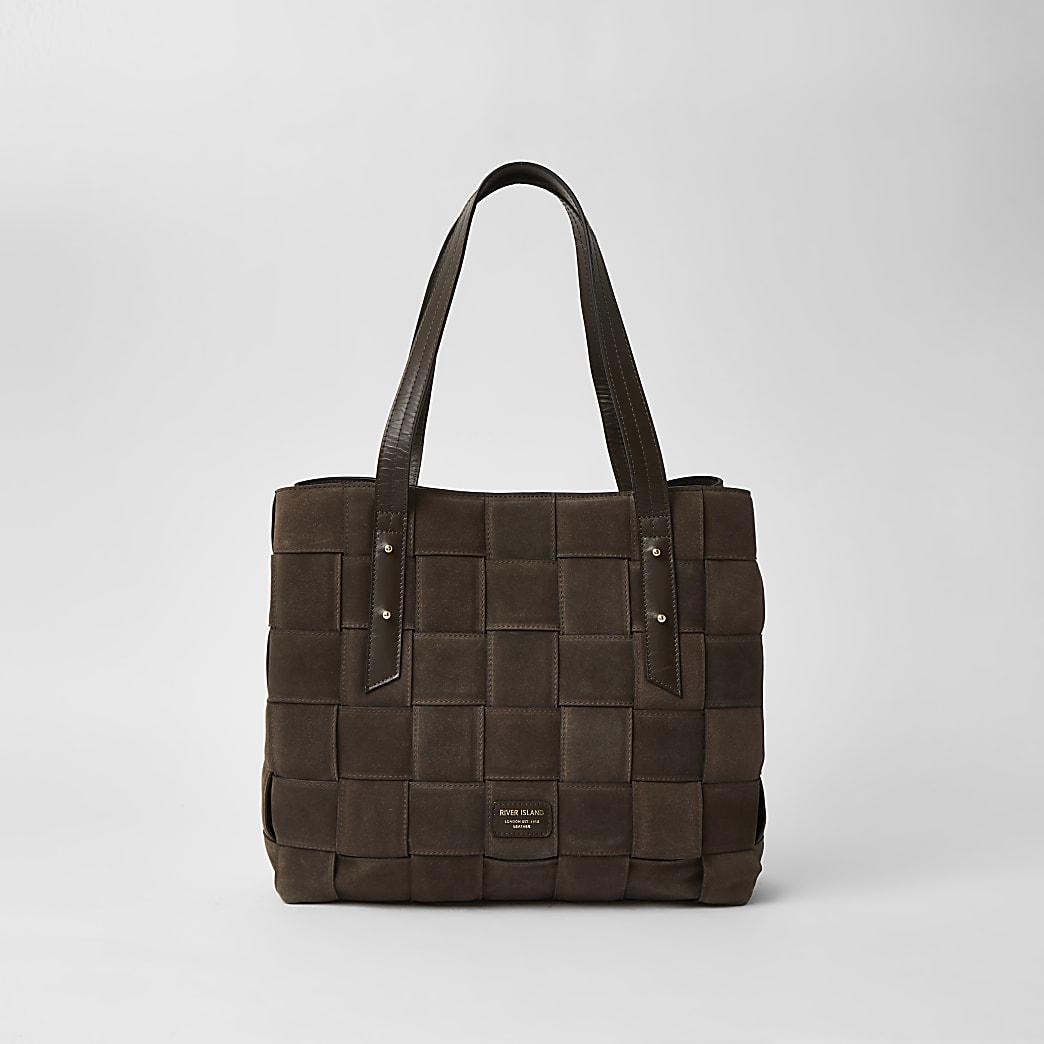 Brown Suede woven tote handbag
