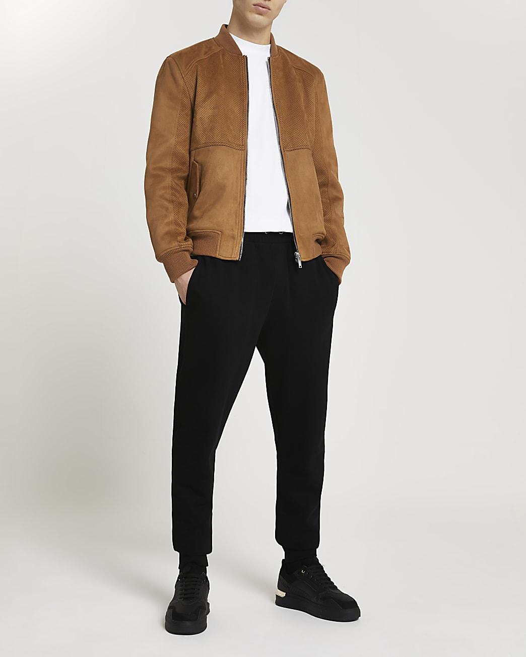 Brown suedette bomber jacket