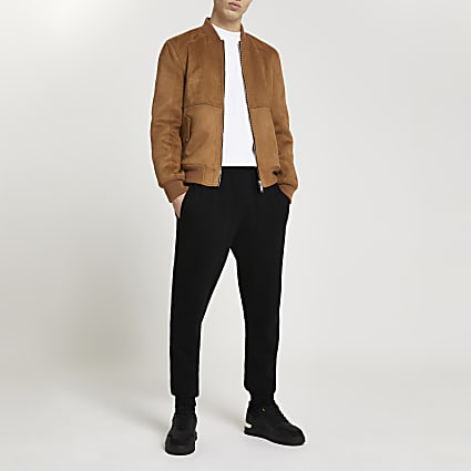 Brown suedette bomber jacket