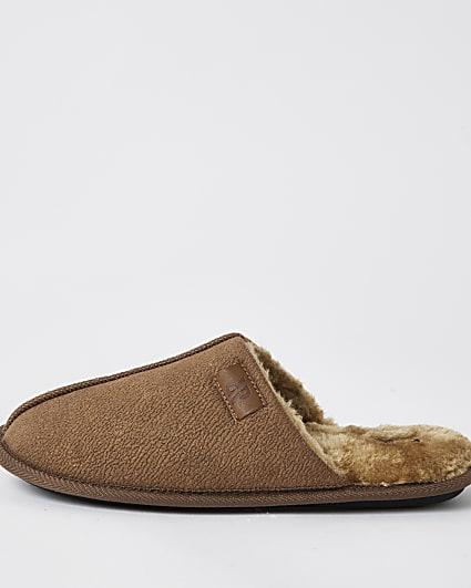 Brown suedette mule slippers