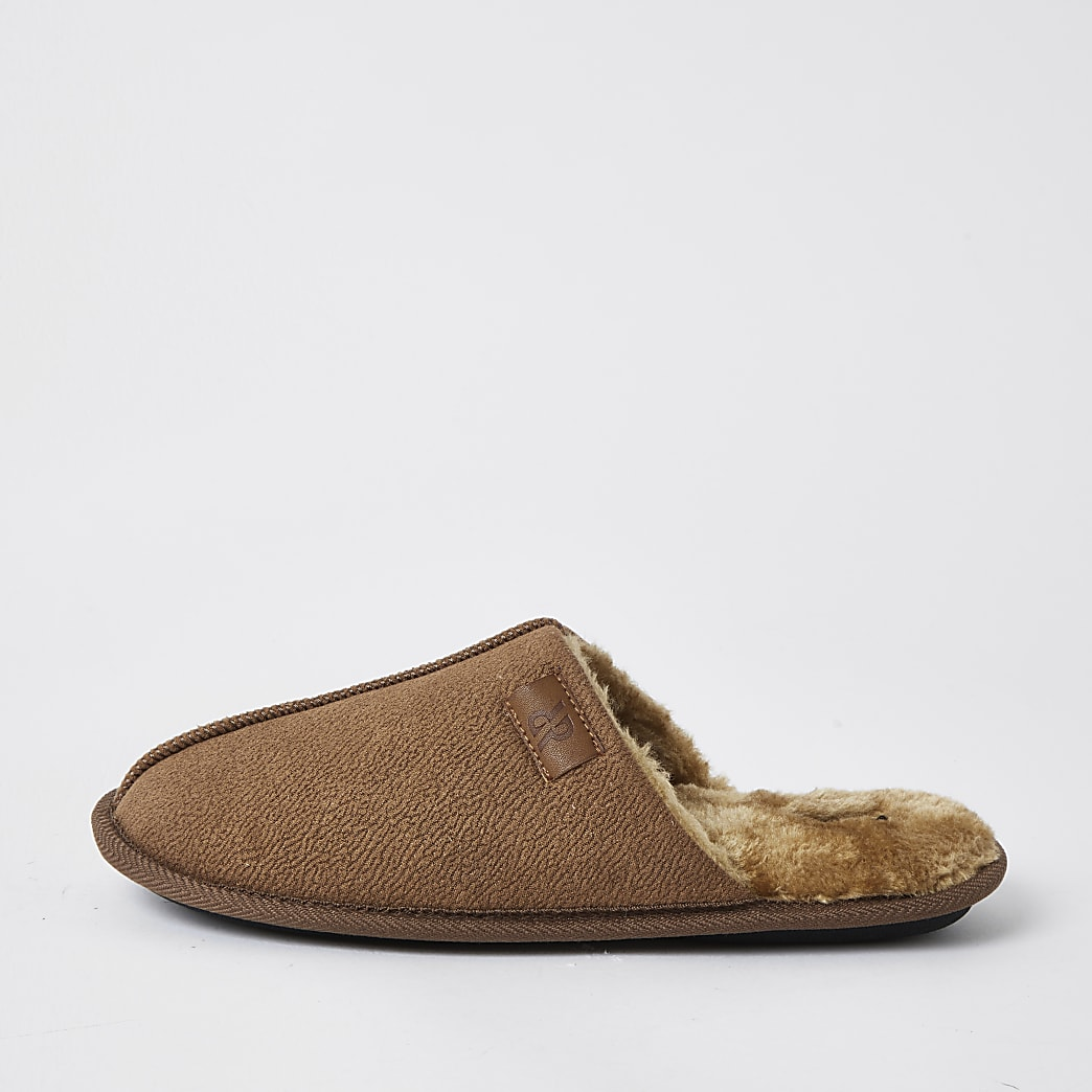 Brown suedette mule slippers