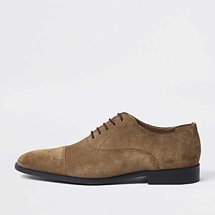 Brown suedette Oxford shoes