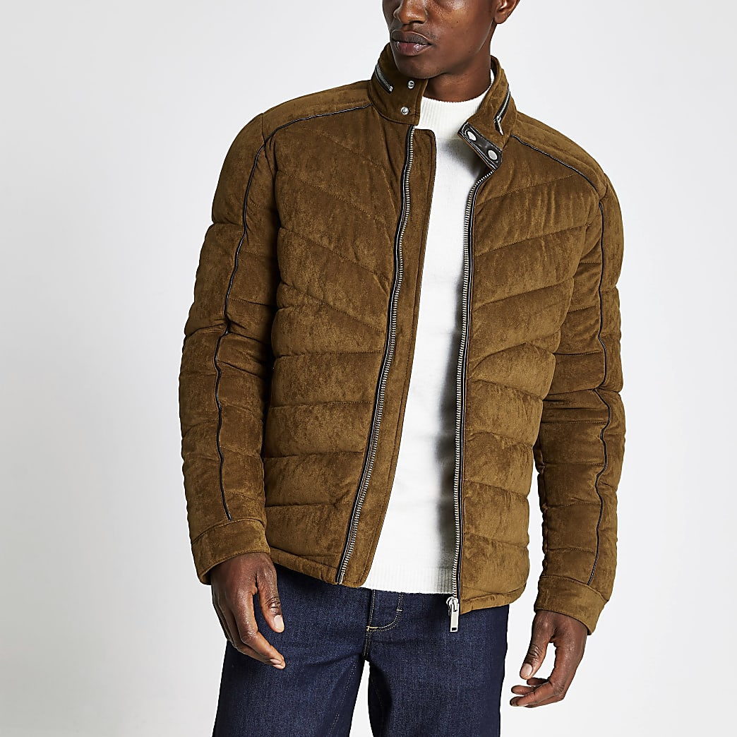 Brown suedette quilted racer coat