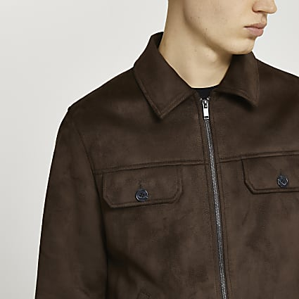 Brown suedette shacket