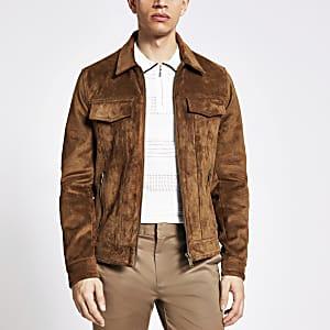 Veste Western avec fermeture éclair en suédine marron
