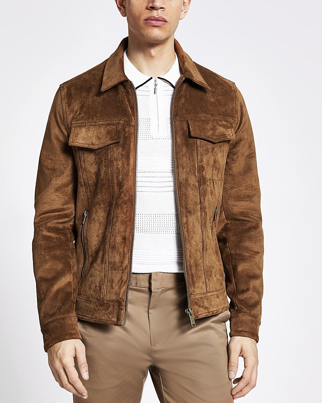 Brown suedette zip Western jacket