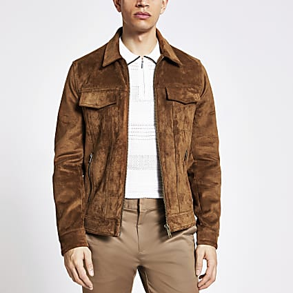 Brown suedette zip Western jacket