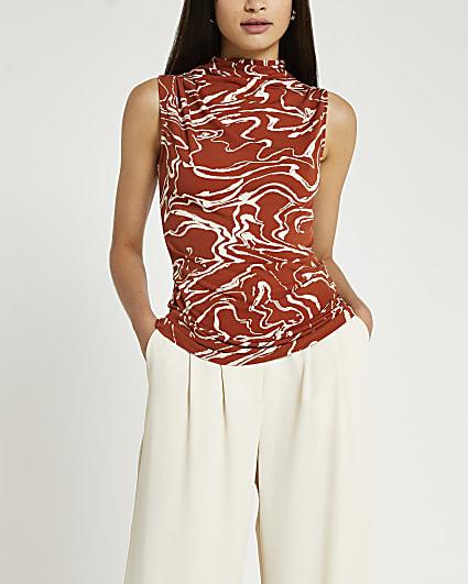 Brown swirl print top