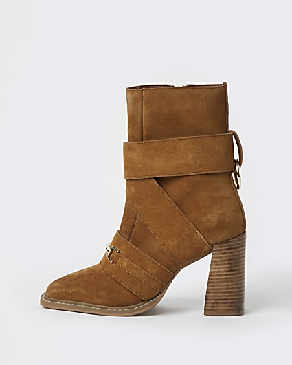 Brown tan suede square toe heeled boots