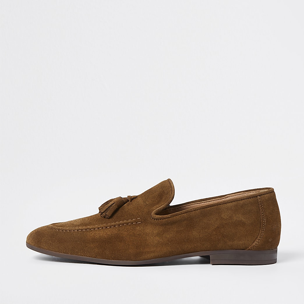 Brown tassel suede loafers