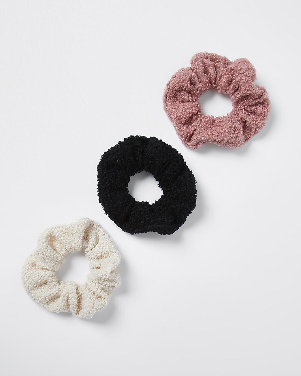 Brown teddy scrunchie 3 pack