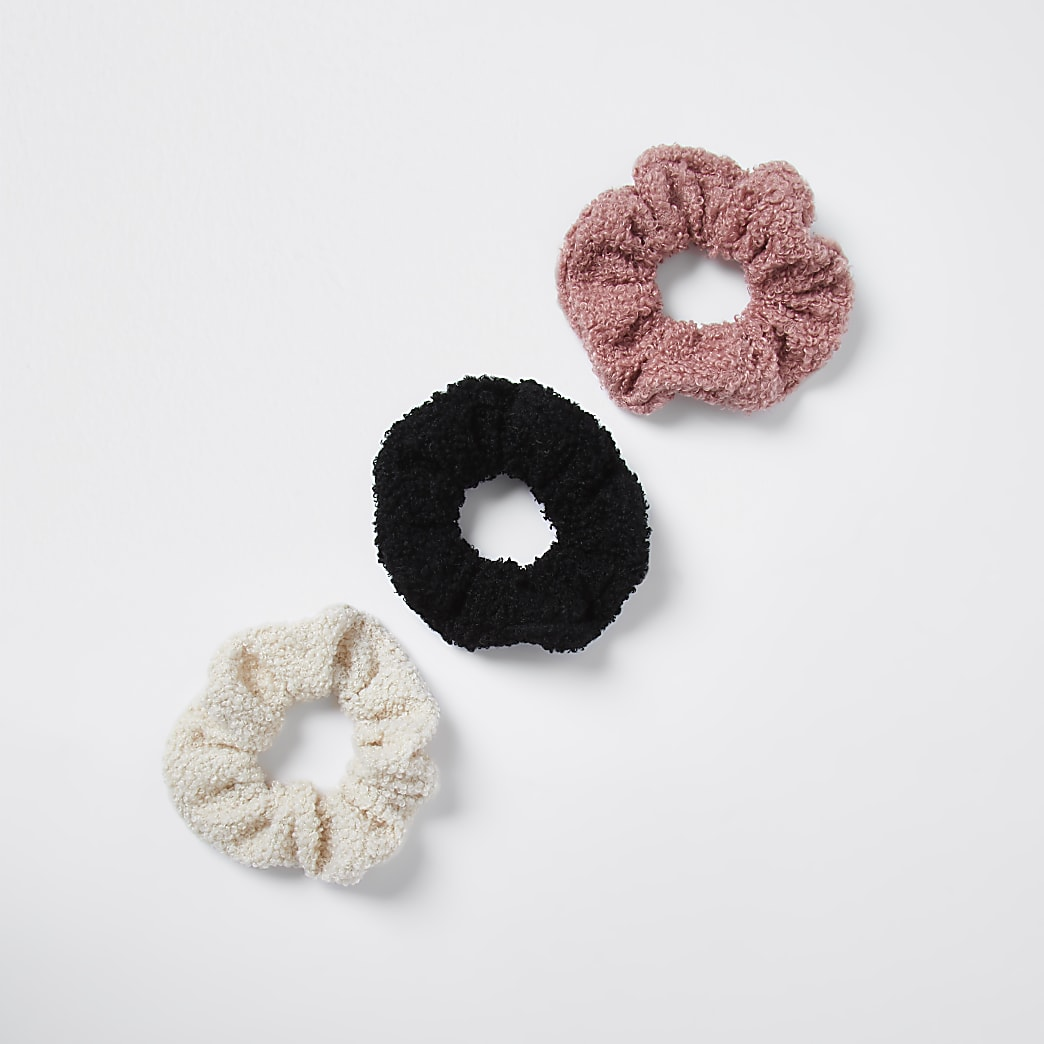 Brown teddy scrunchie 3 pack