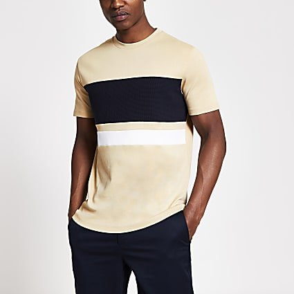 Brown textured blocked slim fit T-shirt