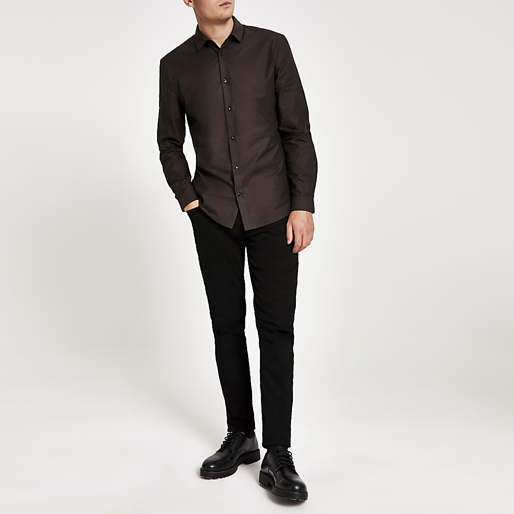 Brown textured long sleeve slim fit shirt