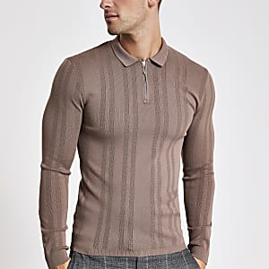 Brown textured muscle fit zip polo shirt