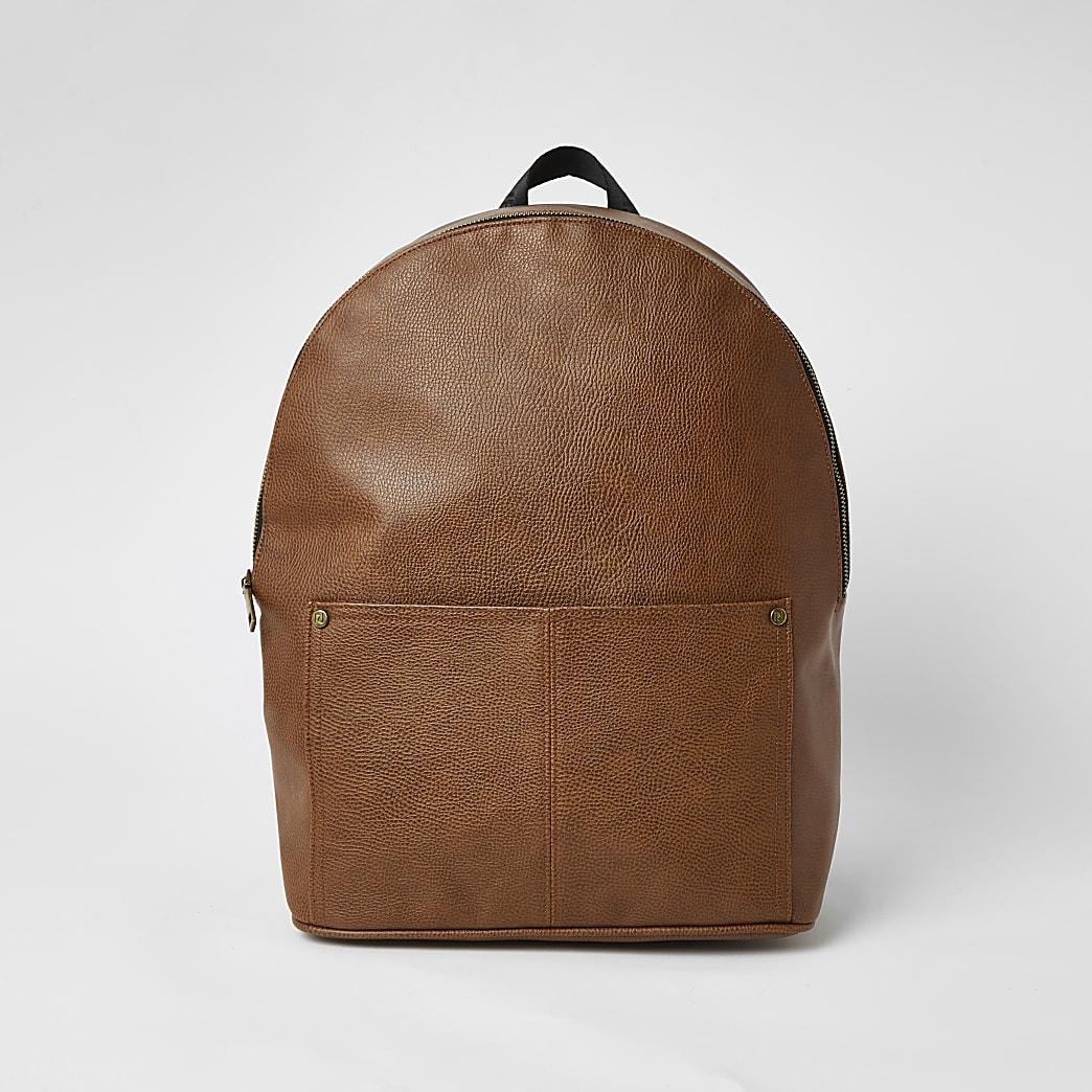 Brown textured pocket front backpack