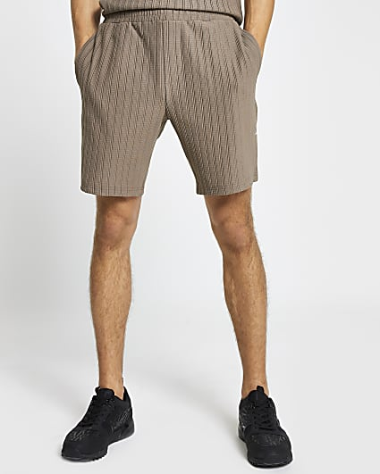 Brown textured ribbed slim fit shorts