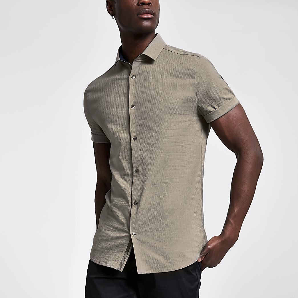 Brown textured slim fit short sleeve shirt