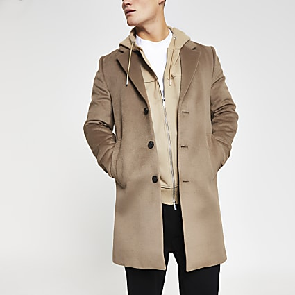 Brown three button overcoat