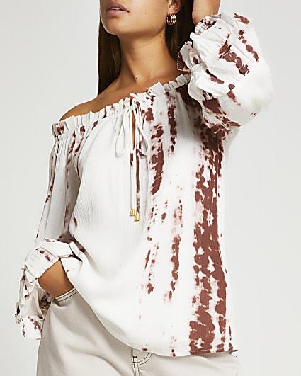 Brown tie dye frill detail bardot top