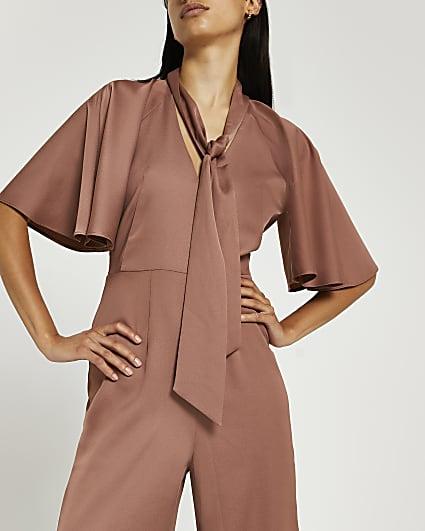 Brown tie neck jumpsuit
