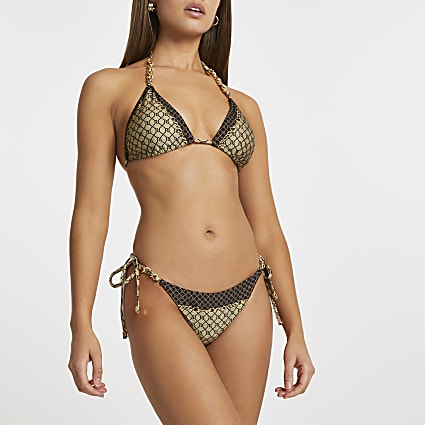Brown tie side logo thong bikini bottoms